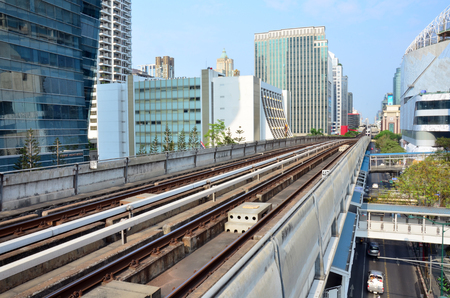 Railway of Skytrain at Bangkok Thailand photo
