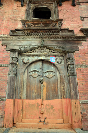 Door in Hanuman Dhoka is a complex of structures with the Royal Palace of the Malla kings at Kathmandu Durbar Square Nepal photo