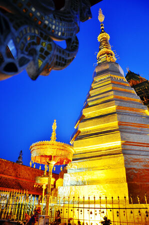 Wat Phra That Cho Hae in Phrae Province Thailand at Night Time photo