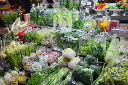 Greengrocery or Vegetables   Fruit Shop in Don wai Float Market at Nakornprathom Thailand