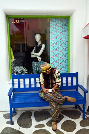 Thai woman writting postcard photo