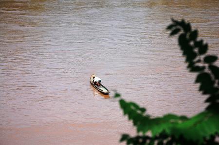 khong river: Fishing boat  on Mekong river in Luang Prabang City at Loas  Lao People s Democratic Republic