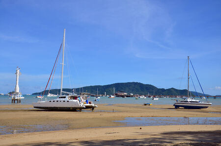 Chalong Bay Pier when water level low at Phuket Thailand photo