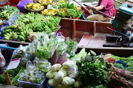 greengrocery: Greengrocery or Vegetables and Fruit Shop in Klong Lat Mayom Canal Floating Market at Bangkok Thailand