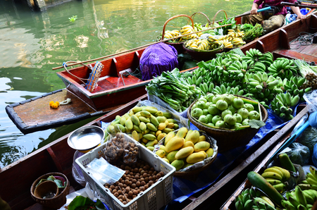Greengrocery or Vegetables and Fruit Shop in Klong Lat Mayom Canal Floating Market at Bangkok Thailand