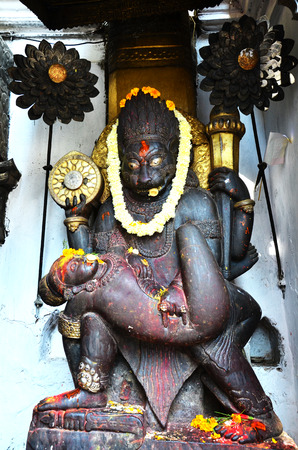 Carving of Hanuman Dhoka at Kathmandu Durbar Square Nepal photo