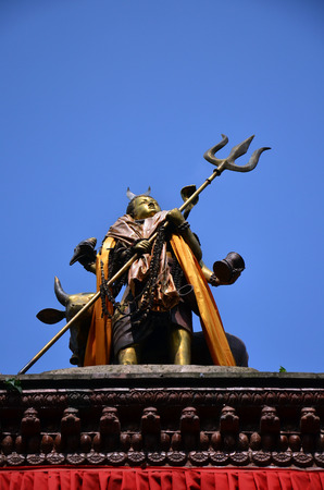 parvati: Shiva on roof of Hanuman Dhoka is a complex of structures with the Royal Palace of the Malla kings in Basantapur Durbar Square at Kathmandu Nepal Stock Photo