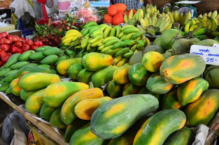 klong: Papaya Fruit Shop in Klong Lat Mayom Canal Floating Market at Bangkok Thailand