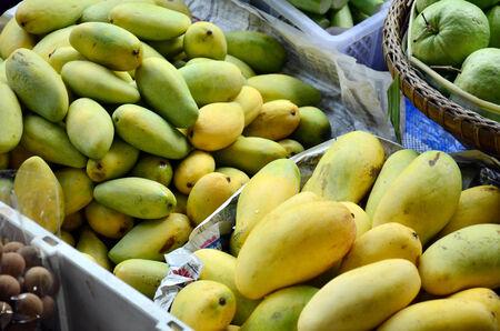 klong: Mango Fruit Shop in Klong Lat Mayom Canal Floating Market at Bangkok Thailand Stock Photo