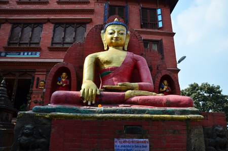 Swayambhunath Temple or Monkey Temple at Kathmandu Nepal photo