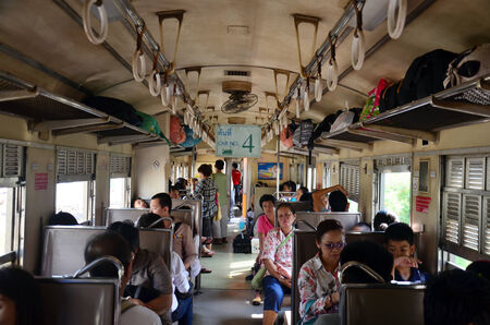 Bangkok, Thailand - May 1  Interior of Thailand Train Class 3  People travel from bangkok to ayutthaya by train, on May 1, 2014  in Bangkok Thailand