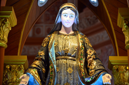 Mary  mother of Jesus  at Roman Catholic Diocese or Cathedral of the Immaculate Conception most beautiful church in Chanthaburi Thailand