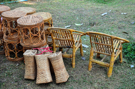 Local Bamboo Furniture shop in Three Pagodas Pass or Dan Chedi Sam Ong of Sangkhlaburi Thailand  photo