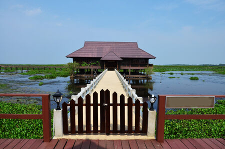 House in Thale Noi lake and Waterfowl Park at Phatthalung Province Thailand photo