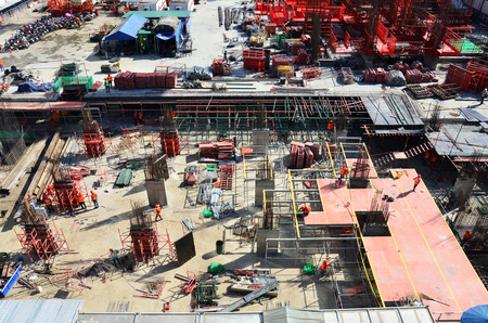 People working on Building Business Construction Site at Bangkok Thailand photo