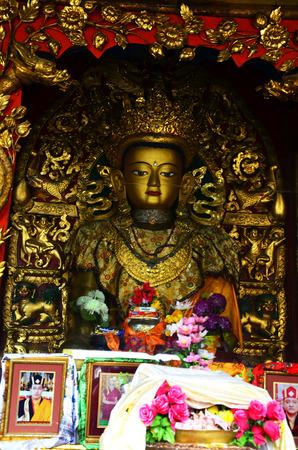Swayambhunath Temple or Monkey Temple with Buddha - holy asian religious symbol at Kathmandu Nepal photo