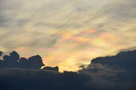 Sky and Clouds with rainbow Background photo