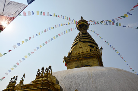 Swayambhunath Temple or Monkey Temple with Buddha eyes or Wisdom eyes - holy asian religious symbol at Kathmandu Nepal photo