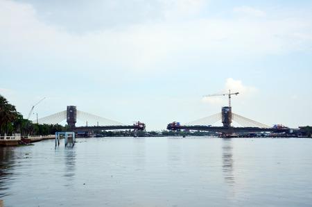 nonthaburi:  Building  Construction bridge on Chao Phraya River at Nonthaburi Thailand