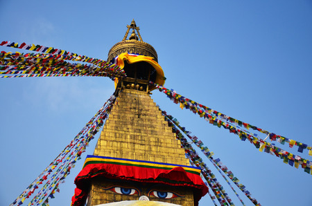 bodnath: Boudhanath or Bodnath Stupa with Buddha eyes or Wisdom eyes is the largest stupa in Nepal and the holiest Tibetan Buddhist temple outside Tibet  It is the center of Tibetan culture in Kathmandu  Stock Photo