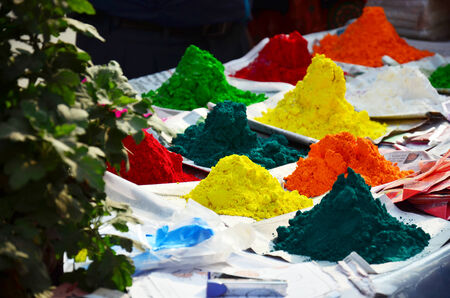 Tika Color powder for Tihar Deepawali festival and Holi Festival location in Patan Durbar Square is situated at the centre of Lalitpur Sub-Metropolitan City in Nepal  photo