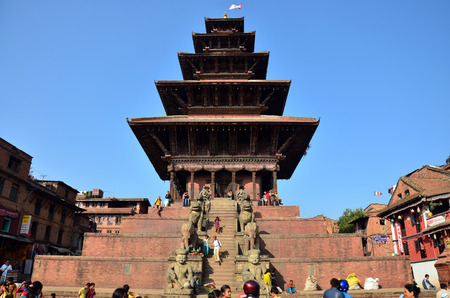 come in: Traveler and Nepalese people come to Bhaktapur Durbar Square for tour and leisure in Bhaktapur Nepal