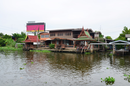 naivasha: House Thai Style at Canalside flows into Chao Phraya River in Nonthaburi Thailand Editorial