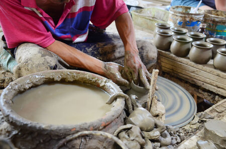 nonthaburi: Mechanic pottery working made earthenware at Koh Kret Island in Nonthaburi Thailand.