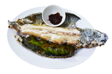 snake head fish: Pesce testa di serpente piatti alla griglia in stile thai