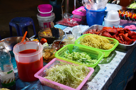 Cooking Thai Cuisine noodles Restaurant at Sangkhlaburi District,Kanchanaburi,Thailand photo