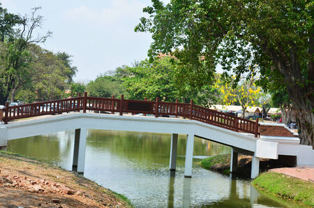 crossover: Bridge crossover canal in Ayutthaya Historical Park Thailand