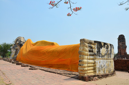 Reclining Buddha of Wat Lokayasutharam Temple in Ayutthaya Thailand. photo