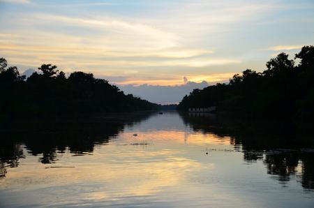 nakhon pathom: Lake in Sunset time at Phutthamonthon district, Nakhon Pathom Province of Thailand.