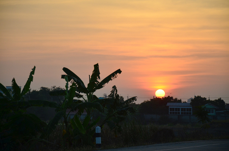 Sunset time at countryside in Nonthaburi Thailand photo