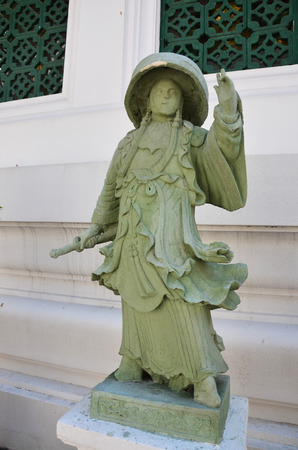 wat bowon: Chinese Ship Ballast stone figurines of Wat Bowonniwet Vihara, or Wat Bowon located on Bangkok Thailand. Stock Photo