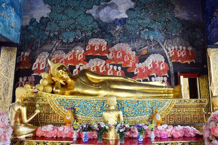 wat bowon: Reclining Buddha at Wat Bowonniwet Vihara, or Wat Bowon located on Bangkok Thailand.
