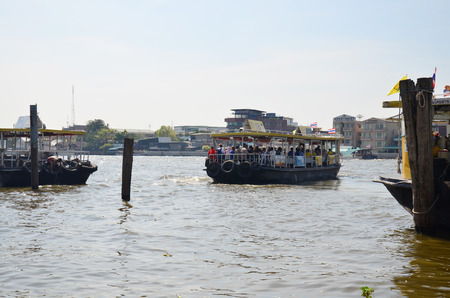 ferryboat: Thai people passenger Ferryboat for crossing in Chao Phraya River on December 14, 2014 in Bangkok Thailand