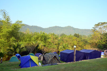 ratchaburi: Tent camp in forest at Suan Phueng District in the western part of Ratchaburi Province, central Thailand.