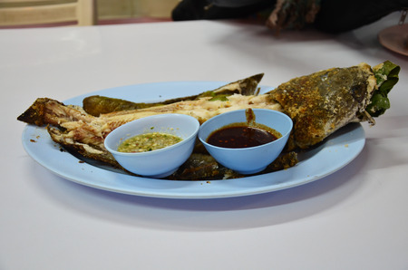 striped snake head fish: Snake-head fish grilled food thai style