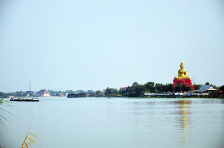 thani: Wat Bot Temple at Chao phraya riverside in Pathum Thani Thailand Stock Photo