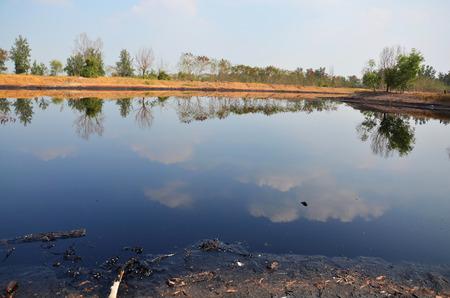 illicit: Gli effetti sull'ambiente di acqua contaminata da sostanze chimiche e petrolio. Questa acque reflue avviene dallo smaltimento di rifiuti industriali e olio vecchio per le fonti d'acqua naturali di illeciti. Archivio Fotografico