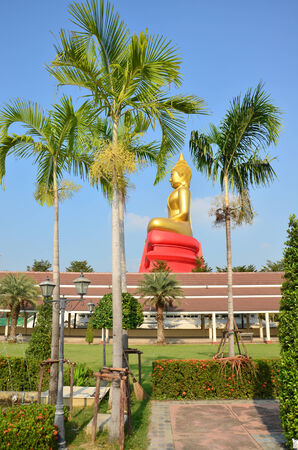 worshiped: Buddha image Phra Phuttha Sothon or Luang Pho Sothon that is one of the most worshiped Buddha images in Thailand. This statue location at Wat Bot Temple in Pathumthani