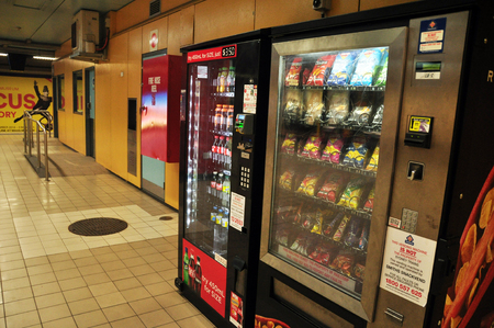 Vending machine in Subway Train at Sydney on January 24, 2015 in New South Wales, Australia.