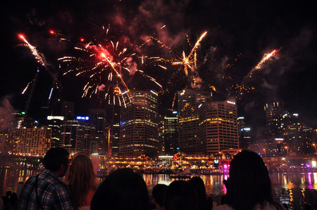 Australian People and traveler looking Fireworks for Australia Day at Sydney on January 24, 2015 in New South Wales, Australia. photo