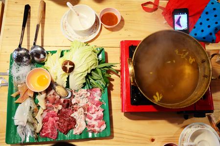 Sukiyaki or Shuba Shabu or Hot Pot in restaurant photo