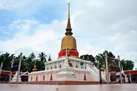 Chedi at Wat phra that sawi Temple in Chumphon Thailand photo