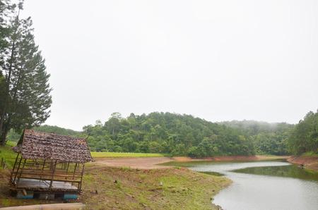 pang: Hut raft Bamboo on a large reservoir in Pang Ung at Mae Hong Son, Thailand. Stock Photo
