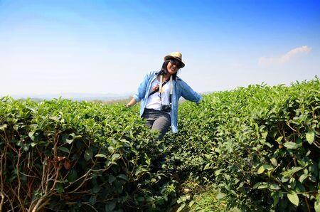 Thai woman portrait on tea plantation at Doi Mae Salong (Mountain) in Chiang Rai, Thailand. photo