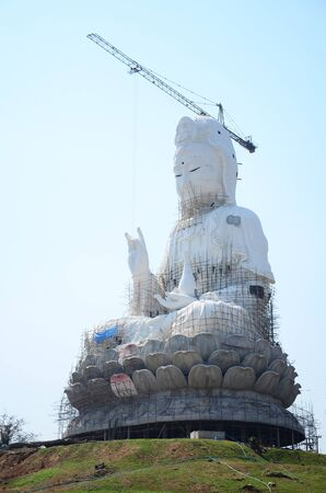 bodhisattva: Construction and Build Bodhisattva Goddess Statue or Guan Yin in Chinese culture at Temple in Chiangrai, Thailand.