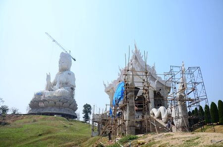 bodhisattva: Construction and Build Bodhisattva Goddess Statue or Guan Yin in Chinese culture and Temple in Chiangrai, Thailand.